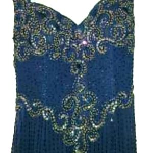 Gorgeous formal sequin gown! Navy blue. Size 8.